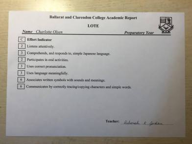 LOTE Report Card (Term 4, 2000)